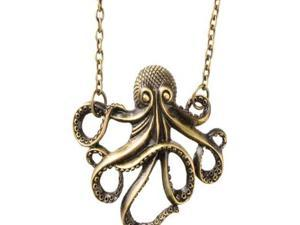 Vintage Bronze Steampunk Nautical Style Octopus Long Pendant Chain Necklace