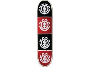 ELEMENT QUADRANT SKATEBOARD DECK-8.0 WHT/BLK/RED thriftwood w/ MOB GRIP