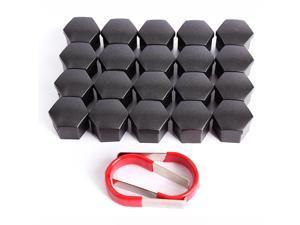 20 x Wheel Lug Bolt Nut Cap Valve Stem Cover 17mm Smoked Hexagonal Protector