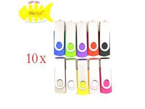 WIFEB 100 Pack Swivel 2GB USB Flash Drive 10-Color Assorted