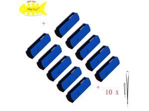 FEBNISCTE 10 Pack Blue Euro Style Swivel 2GB USB 2.0 Memory Stick