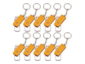 FEBNISCTE 10pcs Key Chain Flash Stick 8GB Gold Metal Thumb Pen Drive USB Flash Drive