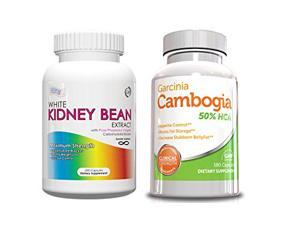 White Kidney Bean and Garcinia Stack-Weight Loss Kit and Fat Burner Stack, 2 Bottles 1 Month Supply,White Kidney Bean Extract Carb Blocker 200 Capsules and Garcinia Cambogia Fat Burner 180 Capsules