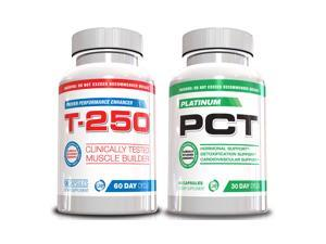 Muscle Builder Stack Supplements T-250 and Platinum PCT, 2 Bottles Muscle Stack 30 Day Supply, Ultimate Shredded Stack, Muscle Builder, Lose Your Gut, Full Body Muscle Supplements