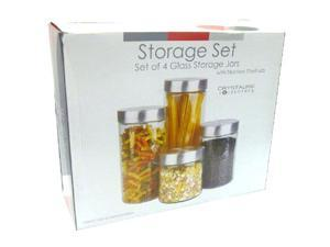 4 Pc Glass Canister Set With Stainless Steel Lids