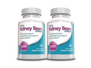 Pack Of 2 White Kidney Bean Extract-Metabolism Booster- 1000mg Per Serving, 200 Capsules, 90 Day Supply, Carb Blocker and Appetite Suppressant, (Holiday Weight Loss Supplements)