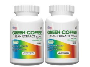 Green Coffee Bean Extract-800mg Per Serving, 60 Vegetarian Capsules, Pack of 2