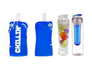 Water Bottle Infuser & Portable Water Bottle w/ Snap Cap