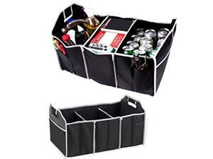 Car Trunk Organizer, 3 Large Sections Collapsible Folding Storage Bin, Black