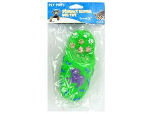 6 INCH SQUEAKY SLIPPER DOG TOY ASSORTED COLORS