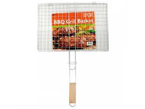 Hinged Metal Outdoor Barbecue Grill Basket with Wood Handle
