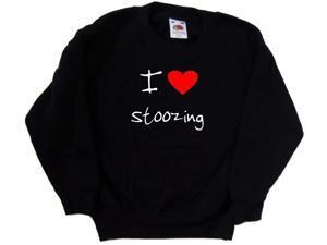 I Love Heart Stoozing Black Kids Sweatshirt