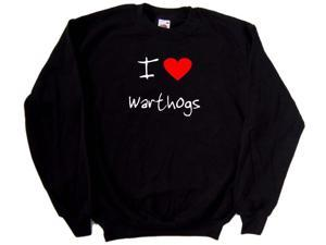 I Love Heart Warthogs Black Sweatshirt