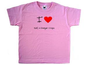 I Love Heart Salt n Vinegar Crisps Pink Kids T-Shirt