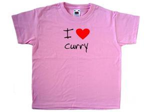 I Love Heart Curry Pink Kids T-Shirt