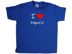 I Love Heart Maputo Royal Blue Kids T-Shirt