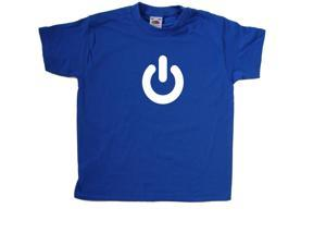 Power On Button Royal Blue Kids T-Shirt