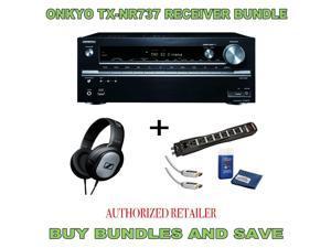 Onkyo TX-NR737 7.2-Channel  A/V Receiver, Sennheiser HD201 Headphones Plus Monster Surge Protector HDMI Bundle