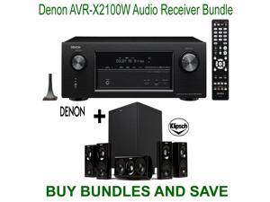 Denon AVR-X2100W 7.2 Channel Full 4K Ultra HD A/V Receiver with Bluetooth and Wi-Fi + Klipsch HDT-600 Home Theater System