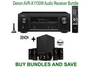 Denon AVR-X1100W 7.2 Channel Full 4K Ultra HD A/V Receiver with Bluetooth and Wi-Fi + Klipsch HDT-600 Home Theater System