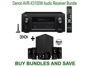 Denon AVR-X3100W 7.2 Channel Full 4K Ultra HD A/V Receiver with Bluetooth and Wi-Fi + Klipsch HDT-600 Home Theater System