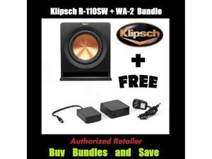 "Klipsch R-110SW Bundle 10"" 200 Watt Subwoofer + Klipsch WA-2 Wireless Subwoofer Kit"