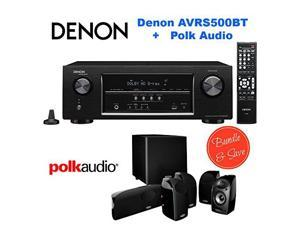 Denon AVR-S500BT 5.2 Channel Full 4K Ultra HD A/V Receiver with Bluetooth + Polk Audio 5.1 TL1600 Speaker System