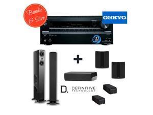 Definitive Technology BP-8060ST (Pair) + Def Tech A60 Elevation Module (Pair) + Def Tech CS-8040HD Spk + Def Tech SR-8040BP BiPolar Surr Speakers (Pair) + Onkyo TX-NR636 7.2-Channel Network A/V Re