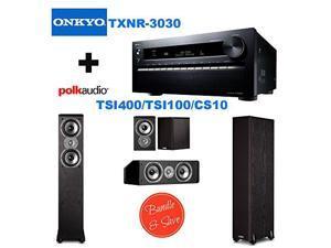 Onkyo TX-NR3030 11.2-Ch Dolby Atmos Ready Network A/V Receiver w/ HDMI 2.0 + 2 Polk Audio TSi400 Speaker - 2-way - Black + Polk Audio TSi100 Bookshelf Speakers (Pair, Black) + Polk Audio CS10 Center C