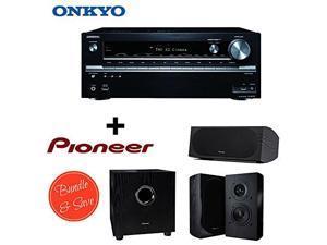 Onkyo TX-NR737 7.2-Channel Network A/V Receiver + 2 Pioneer SP-BS22-LR Andrew Jones Designed Bookshelf Loudspeakers + Pioneer SP-C22 Andrew Jones Designed Center Channel Speaker + Pioneer SW-8MK2 Andr