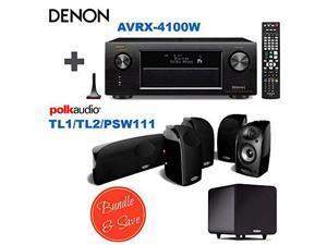 Denon AVRX4100W 7.2 Network A/V Receiver with Wi-Fi and Bluetooth + 4 Polk Audio TL 1 Satellite Speaker (Each, Black) + Polk Audio TL2 Speaker Center Channel (Each, Black) + Polk Audio PSW111 Subwoofe
