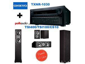 Onkyo TX-NR1030 9.2-Ch Dolby Atmos Ready Network A/V Receiver w/ HDMI 2.0 + 2 Polk Audio TSi400 Speaker - 2-way - Black + Polk Audio TSi100 Bookshelf Speakers (Pair, Black) + Polk Audio CS10 Center Ch