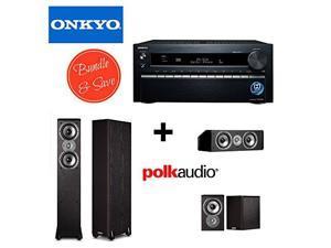 Onkyo TX-NR1030 9.2-Ch Dolby Atmos Ready Network A/V Receiver w/ HDMI 2.0 + 2 Polk Audio TSi300 Floorstanding Speaker + Polk Audio TSi100 Bookshelf Speakers (Pair, Black) + Polk Audio CS10 Center Chan