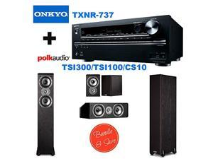 Onkyo TX-NR737 7.2-Channel Network A/V Receiver + 2 Polk Audio TSi300 Floorstanding Speaker + Polk Audio TSi100 Bookshelf Speakers (Pair, Black) + Polk Audio CS10 Center Channel Speaker (Single, Black