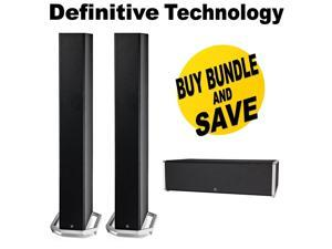 (1 Pair) Definitive Technology High-Performance Floorstanding Home Speaker, Black (IECA-A) + Definitive Technology High-Performance Center Channel Home Speaker, Black (KECA-A) Bundle