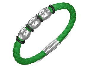 Stainless Steel Green Braided Faux PU Leather Silver-Tone Mens Womens Wristband Bracelet