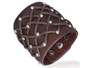 Brown Leather Alloy Cross Round Stud Snap Wristband Unisex Bracelet