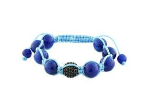 Blue Black CZ Ball Beaded Adjustable Macrame Bracelet