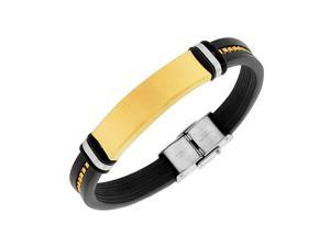 Stainless Steel Black Rubber Silicone Yellow Gold-Tone Chain Men's Bracelet