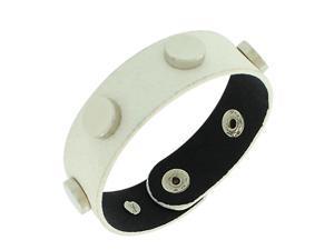 Faux White Leather Silver-Tone Wristband Wrap Womens Girls Bracelet