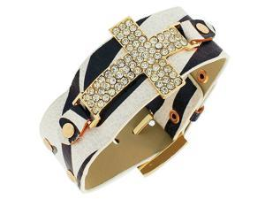 Faux Leather Zebra Black White Pattern Yellow Gold-Tone Religious Cross Crystals CZ Wristband Adjustable Bracelet