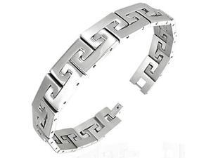 Stainless Steel Silver-Tone Matte Polished Mens Link Chain Classic Bracelet with Clasp