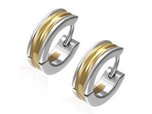 Stainless Steel Two-Tone Hoop Huggie Womens Earrings