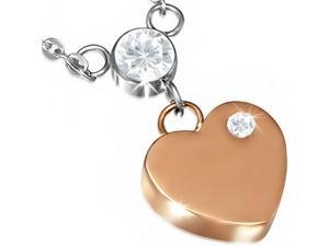 Stainless Steel Silver and Rose Gold-Tone Two-Tone Love Heart Charm White CZ Pendant Necklace
