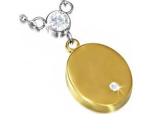 Stainless Steel Silver Yellow Gold Two-Tone Oval Charm White CZ Pendant Necklace
