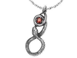 Stainless Steel Silver-Tone Celtic Infinity Snake Charm Pendant Red