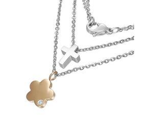 Stainless Steel Rose Gold Silver-Tone Double Chain Cross Flower Pendant Necklace