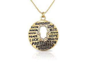 Fashion Alloy Yellow Gold-Tone Hamsa Evil Eye White CZ Pendant Necklace
