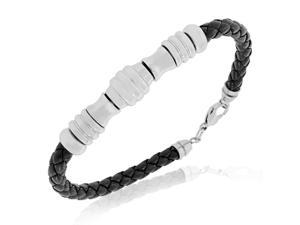Stainless Steel Black Faux PU Leather Braided Mens Bracelet