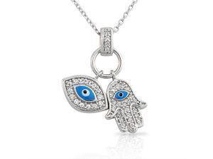925 Sterling Silver Womens Evil Eye Hamsa Blue White CZ Pendant Necklace
